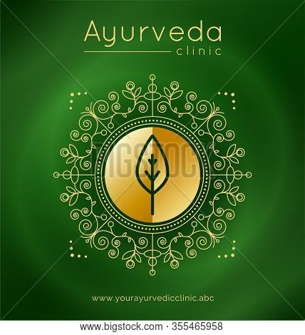 Ayurveda Poster With Ethnic Patterns And Sample Text In Gold Tones On A Green Gradient Backdrop For