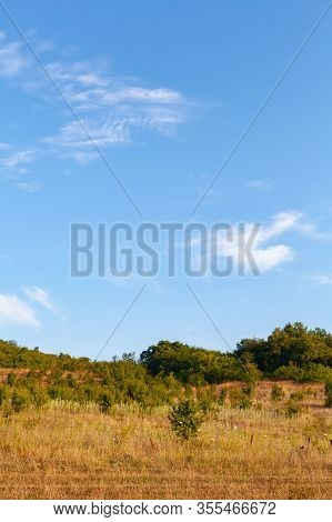 Crimean Landscape At Sunny Summer Day Under Cloudy Sky, Vertical Photo Background