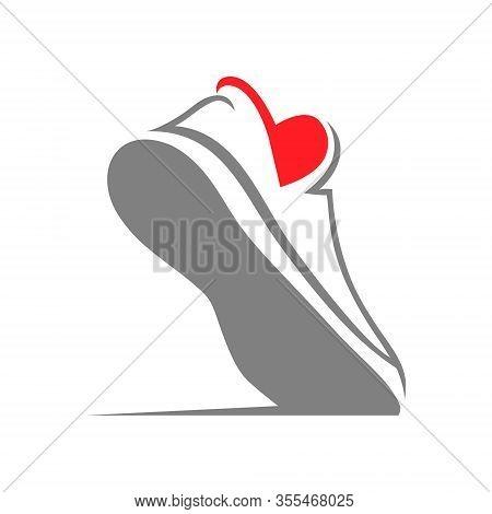 Running Shoe Heart Symbol On White Backdrop. Loving Sport Concept