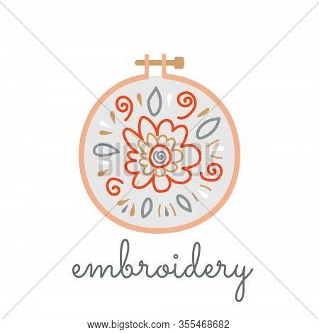 Logo Hoop With Embroidered Flowers In A Flat Style On A White Background. Vector Isolated Knitting S