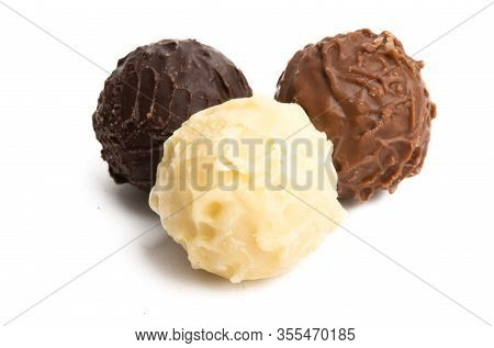 Chocolate Candy Truffles Isolated On White Background
