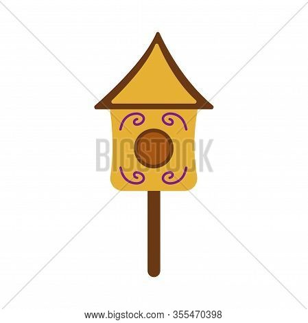 Cute Wooden Birdhouse. Colorful Illustration On A White Background In Cartoon Style. Feeding Trough