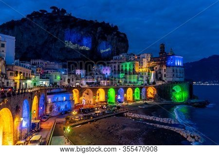 Naples, Italy, December 2019: Colored Christmas Lights In Atrani, Atrani Is A Small Town On The Amal