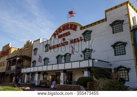 Laughlin, Nevada, Usa - February 17, 2020: Exterior Of The Pioneer Hotel And Gambling Hall On The Co
