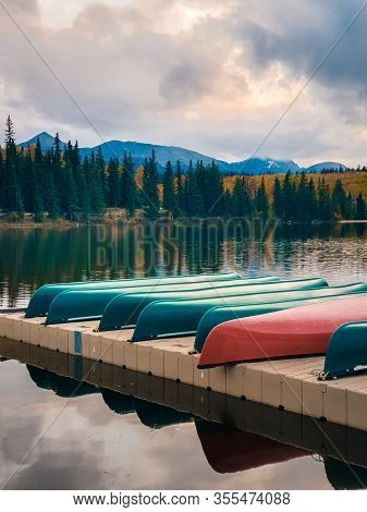 Jasper Town Canada, Lakeshore With Colorful Kayak, Sunrise By The Lake At Jasper , Lac Beauvert Albe