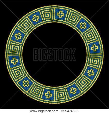 Meander Mosaic Pattern, Circle Shaped Frame In Yellow And Blue. Decorative Border With Meanders And