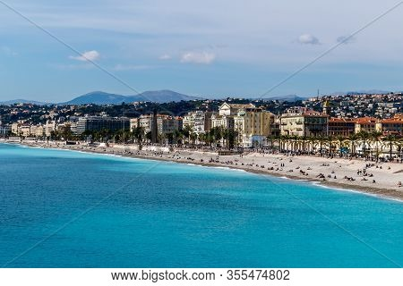Panoramic Wide Angle Shot Of The Quai Des États-unis, People Relaxing On The Beach Of The Mediterran