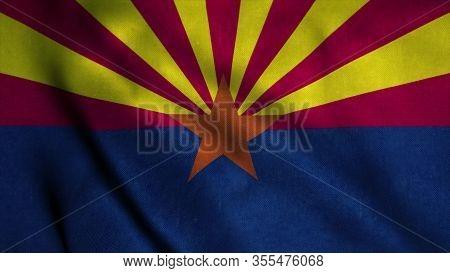 Arizona Flag Waving In The Wind. National Flag Of Arizona. Sign Of Arizona. 3d Illustration.