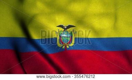 Ecuador Flag Waving In The Wind. National Flag Of Ecuador. Sign Of Ecuador. 3d Illustration.