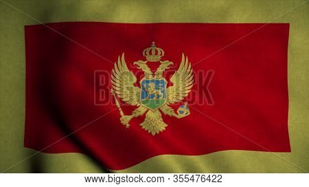 Montenegro Flag Waving In The Wind. National Flag Of Montenegro. Sign Of Montenegro. 3d Illustration
