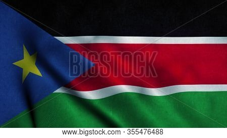 South Sudan Flag Waving In The Wind. National Flag Of South Sudan. Sign Of South Sudan. 3d Illustrat