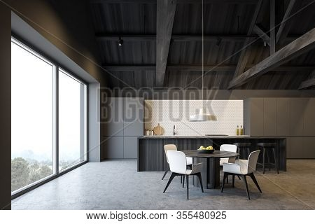 Interior Of Spacious Attic Kitchen With Grey And White Tile Walls, Comfortable Grey Countertops, Woo