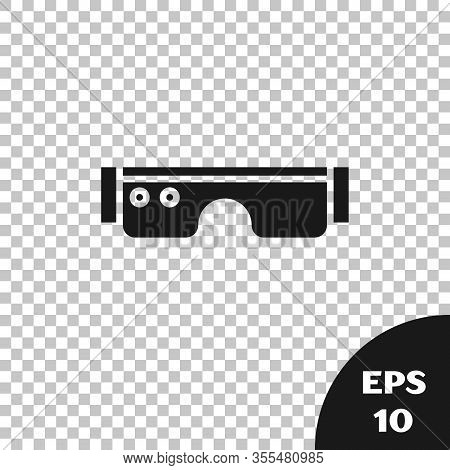 Black Smart Glasses Mounted On Spectacles Icon Isolated On Transparent Background. Wearable Electron