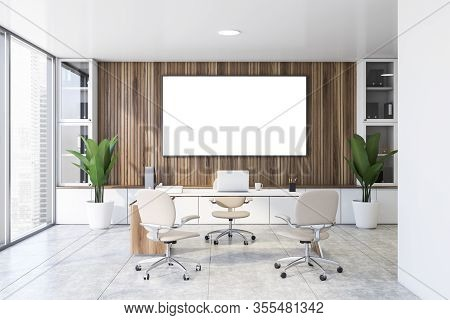 Interior Of Panoramic Ceo Office With Wooden Walls, Tiled Floor, Comfortable Computer Table With Whi