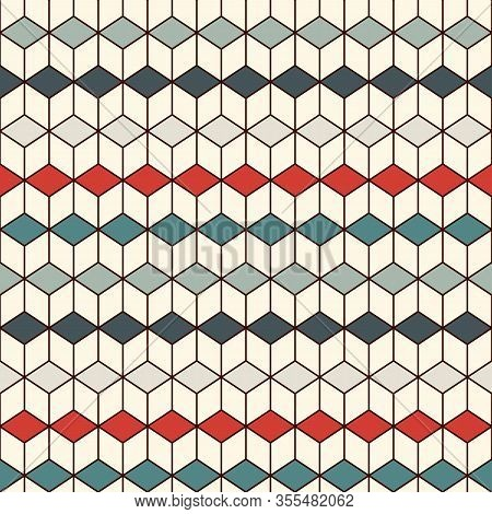 Repeated Cubes Background. Geometric Shapes Wallpaper. Seamless Surface Pattern Design With Polygons