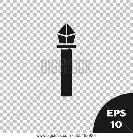 Black Magic Staff Icon Isolated On Transparent Background. Magic Wand, Scepter, Stick, Rod. Vector I