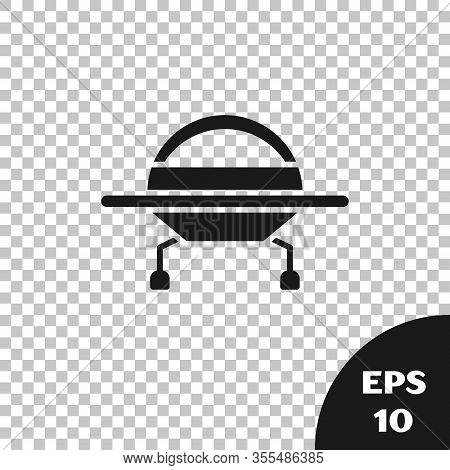 Black Ufo Flying Spaceship Icon Isolated On Transparent Background. Flying Saucer. Alien Space Ship.
