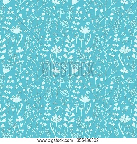 Delicate Floral Seamless Pattern With Meadow Flowers , Leaf And Grasses . White Plants In Hand-drawn