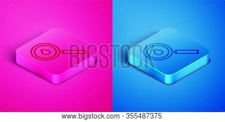 Isometric Line Oil Drop Icon Isolated On Pink And Blue Background. Geological Exploration, Geology R
