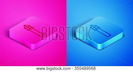 Isometric Line Magic Staff Icon Isolated On Pink And Blue Background. Magic Wand, Scepter, Stick, Ro