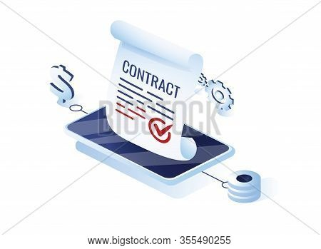 Electronic Contract Or Digital Signature Concept In Isometric Vector Illustration. Online E-contract