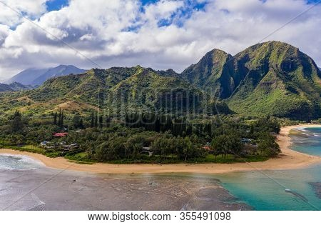 Aerial Panoramic Image Off The Coast Over Tunnels Beach On Hawaiian Island Of Kauai With Na Pali Mou