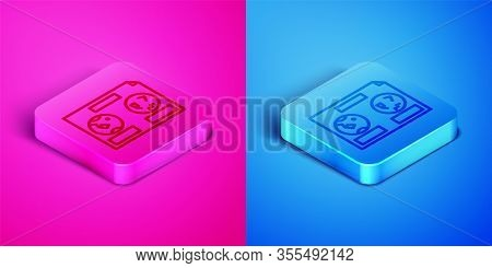 Isometric Line Celestial Map Of The Night Sky Icon Isolated On Pink And Blue Background. Starry Hemi