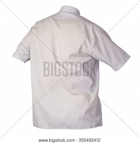 Mens White Gray Spriped Shirt With Short Sleeves Isolated On A White Background. Summer Beach Shirt