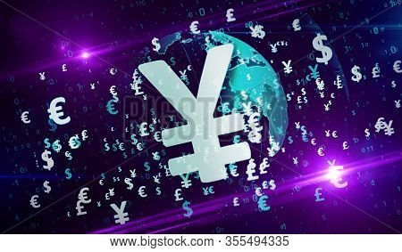 Money Symbols. Dollar, Euro, Yen And Pound Currency Icons On Digital Globe 3d Illustration. Abstract