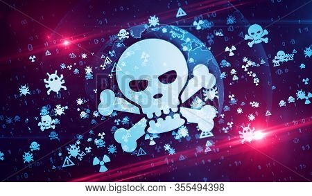 Skull. Cyber Crime, Hacker Attack, Virus, Computer Safety And Privacy Security Symbols On Digital Gl