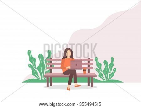Woman With Laptop Sitting On A Park Bench. Concept Illustration For Freelance, Work, Study, Educatio