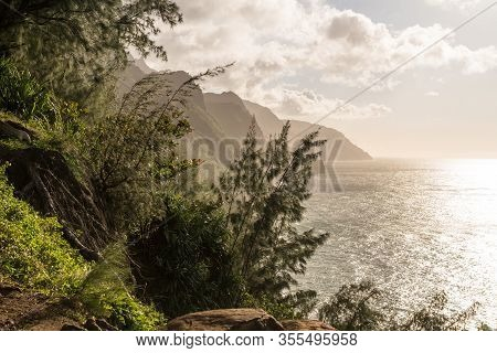Mountains Recede Into The Distance From Overlook On Kalalau Trail On Na Pali Coast Of Kauai