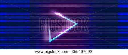 Wide Glitch Banner With Glitched Triangle Play Icon. Designs For Banners Vector Illustration.