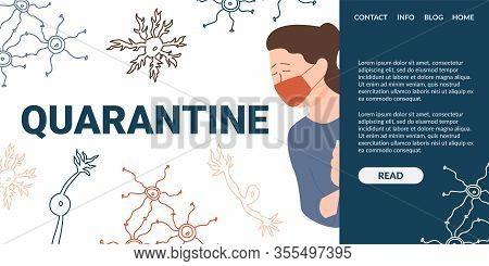 Crying Woman In Protective Mask Near Quarantine. Quarantine Panic. Antiviral Drugs And Immunomodulat