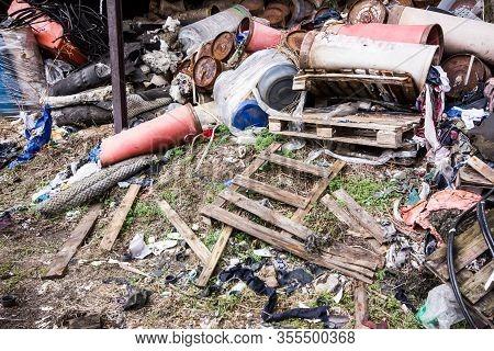 Abandoned Garbage Dump. Junkyard Texture. Pile Of Various Trash Backdrop. Environment Destruction Wi
