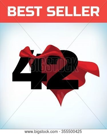 Arabic Number Forty Two In The Red Cloak Of The Winner Of The Super Hero. - Vector
