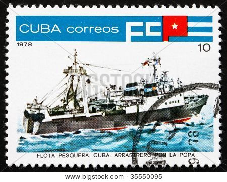 Postage stamp Cuba 1978 Inshore Stern Trawler