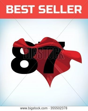 Arabic Number Eighty Seven In The Red Cloak Of The Winner Of The Super Hero. - Vector
