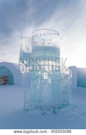 Jukkasjarvi, Sweden, February 24, 2020:  The Ice Hotel And Art Exhibition Is Made Of Ice From The Ri