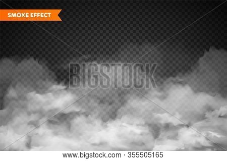 Realistic Fog, Mist Effect. Smoke Isolated On Transparent Background. Vector Vapor In Air, Steam Flo