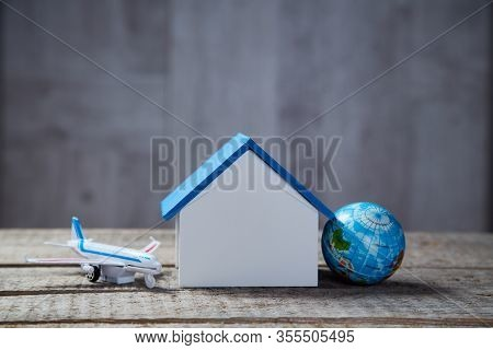 Travel Around The World. Accommodation Rent. Air Transport. House Mockup With Copy Space. Vacation A