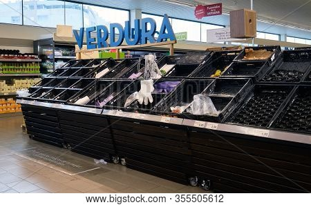 Torrevieja, Spain: March 13, 2020: Inside of grocery supermarket chain. Shoppers emptying out local