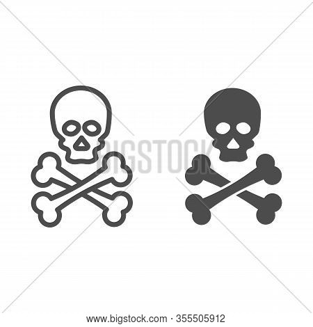 Jolly Roger Line And Solid Icon. Death Warning, Skull And Crossbones Symbol, Outline Style Pictogram