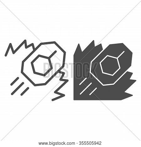 Tank Attack Line And Solid Icon. War Battle Land Attack With Explosion And Vehicle Symbol, Outline S