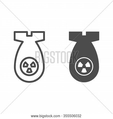 Atomic Bomb Line And Solid Icon. Nuclear Ammunition, Air Rocket Symbol, Outline Style Pictogram On W