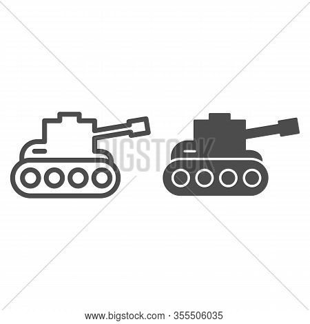 Tank Line And Solid Icon. Army War Vehicle Silhouette Symbol, Outline Style Pictogram On White Backg