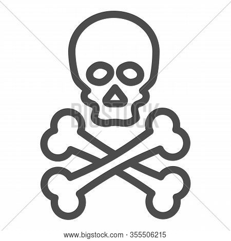Jolly Roger Line Icon. Death Warning, Skull And Crossbones Symbol, Outline Style Pictogram On White