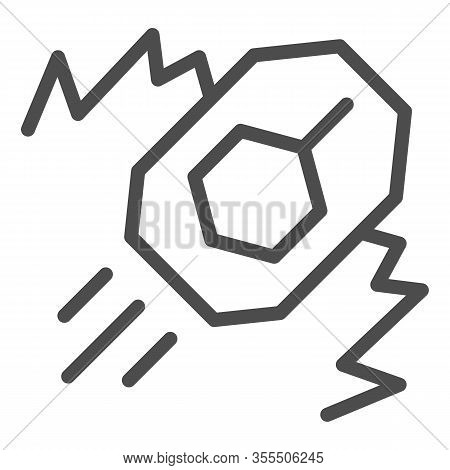 Tank Attack Line Icon. War Battle Land Attack With Explosion And Vehicle Symbol, Outline Style Picto