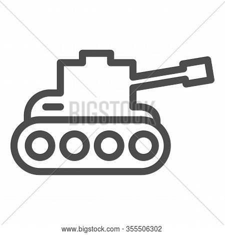 Tank Line Icon. Army War Vehicle Silhouette Symbol, Outline Style Pictogram On White Background. War