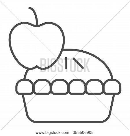 Apple Pie Thin Line Icon. Fruit Dessert Tart, Sweet Baked Cake Symbol, Outline Style Pictogram On Wh